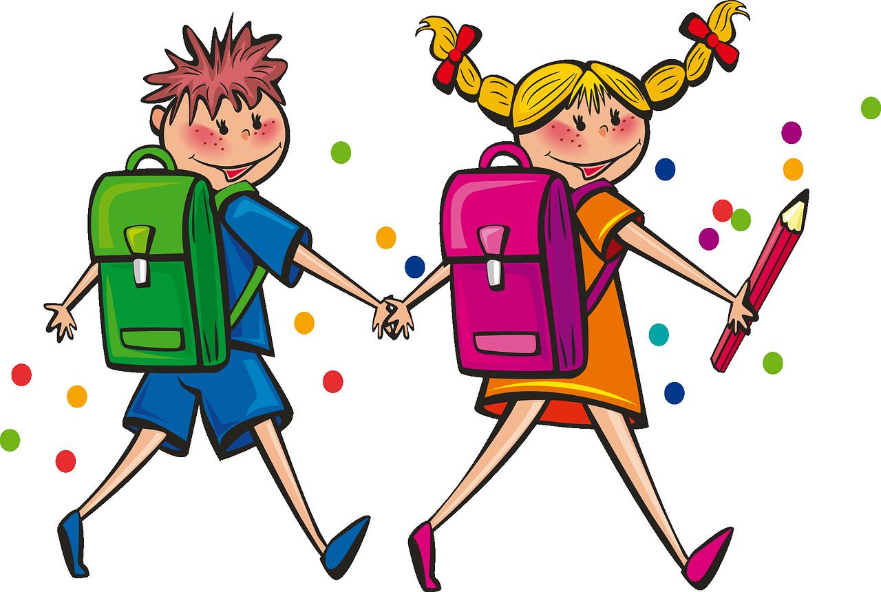 Веселые мальчик и девчонка с портфелями